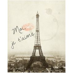 Je t'aime, Paris Print 8x10 Art, Vintage Eiffel Tower - Coffee Stain, Cafe, Oui, French, Lipstick, Lips, Kiss, Romantic, Old World, Retro (56 BRL) found on Polyvore featuring home, home decor, wall art, backgrounds, pictures, paris, decor, eiffel tower, eiffel tower home decor and photo wall art