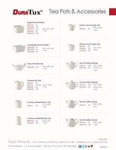 Tea Pots & Accessories Collection from DuraTux by Tuxton China