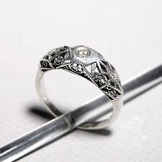 Sterling Silver and Diamond Filigree Ring by ObsessoriesStudios