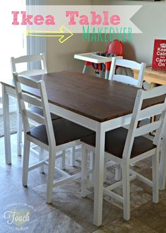 Ikea Kitchen Table Makeover {Tutorial- Omg we've thought about buying this Ikea table dozens of times but never have because I thought it was ugly. Could totally do it now!!