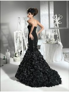 Black Floral Gothic Wedding Dress