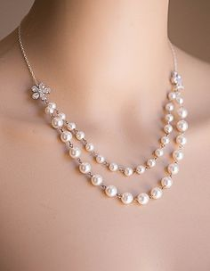 Swarovski Pearl Necklace .Bridal,Bridesmaids jewelry VALENTINA
