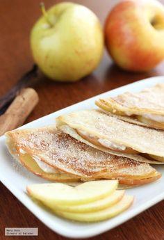 Receta de quesadillas dulces con manzana y queso crema. Con fotografías, consejos y sugerencias de degustación. Recetas de postres...