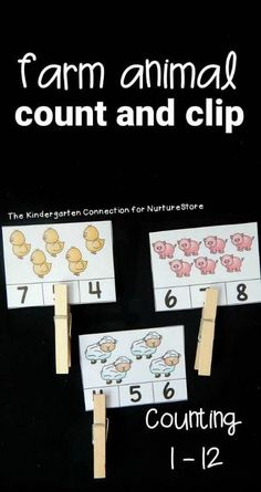 Farm Animal Count and Clip Cards Printable animal cards counting game - farm theme count and clip game - great math center for kindergarten printable Farm Activities, Animal Activities, Animal Games, Animal Crafts, Space Activities, Farm Animals Preschool, Preschool Themes, Farm Animals Games, Numbers Preschool