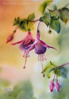 Fuksjowe Marzenie by stokrotas -- Barbara Pingot Watercolor Pictures, Watercolor Artwork, Watercolour, Flower Artwork, Abstract Flowers, Watercolor Plants, Floral Watercolor, Still Life Flowers, Wall Art Pictures
