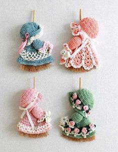 """Crochet Pattern for Mini Broom Dolls Delight your family and friends with these crochet patterns for an adorable collection of """"Mini Broom Dolls"""". Worked with dresses for work Mini Broom Dolls 1 Crochet Pattern Leaflet Crochet Flower Patterns, Crochet Doll Pattern, Crochet Dolls, Doll Patterns, Crochet Flowers, Crochet Designs, Crochet Vintage, Cute Crochet, Crochet Crafts"""