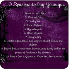WHY BUY YOUNIQUE!???? 10 Reasons why you should I am going for GREEN this month and I would love your help ~ ask me how you can shop, host and / or join! I have a May special from me when you make a purchase.  email me at fabulashchic@gmail.com Look forward to hearing from you!!!