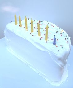 Devil's Food Cake with Marshmallow Frosting - half birthday cake!