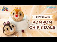 DIY Tutorial - How to Make Pompom Chip & Dale - ポンポンの作り方 - Hướng dẫn làm pompom Chip & Dale Pom Pom Crafts, Yarn Crafts, Sewing Crafts, Diy Arts And Crafts, Crafts To Sell, Crafts For Kids, Paper Pom Poms, Tulle Poms, Tulle Tutu