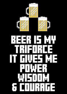 zelda triforce beer gaming videogames link gamer power wisdom courage hyrule