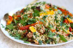 Salade van parelcouscous met aubergine en paprika - Francesca Kookt