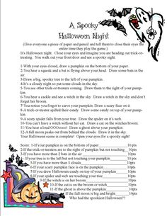 A Spooky Halloween Night Game. A game where kids close their eyes and draw a spooky Halloween scene as you read the story. When the story is done, they open their eyes and get to laugh at their pictures. Points are given for how they did. www.thejoysofboys.com