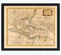 Old Map of Caribbean Area Antillas Gulf of Mexico Nicaragua, 1720 - product image