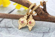 Gold Ruby Earrings Gold Hoop Earrings Solid Gold Earrings   Etsy