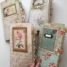 *pic only* Shabby chic travelers notebook collection. Available at Journal Boutique on Etsy Handmade Journals, Handmade Books, Vintage Journals, Journal Covers, Book Journal, Travelers Notebook, Book Crafts, Paper Crafts, Shabby Chic Journal