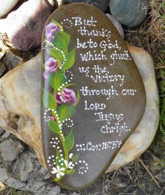 Hand+Painted+Idaho+Rock-Pink+Rose+Buds-Paper+Weight-I+Cor.+15:57+#Decorative