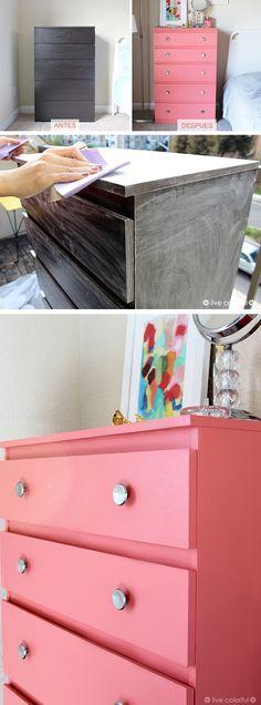 Consejos de como pintar muebles laminados y la transformación de una Cómoda Usando Sherwin Williams Color del Año 2015: Coral Reef. | LiveColorful.com/es