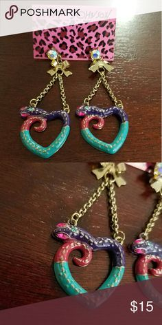 BEAUTIFUL AND COLORFUL  SNAKE HEART EARRINGS Brand new. Super freaking cute. Dangly coloful snakes shaped into a hear white a rhinestone post and a gold bow to accent them! FROM BETSY JOHNSONS COLLECTION. BUNDLE TO SAVE 20%! Betsey Johnson Jewelry Earrings
