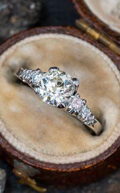 1 Carat Old Mine Cut Diamond Vintage Engagement Ring . Sku AE18164 Garnet Jewelry, 1 Carat, Vintage Diamond, Vintage Engagement Rings, Diamond Cuts, Wedding Rings, Prong Set, Shank, Base