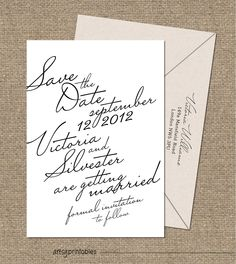VINTAGE Wedding Invitations - ELEGANT SCRIPT Style - Custom Printable Designs - Calligraphy Classic Timeless - Black and White, via Etsy.