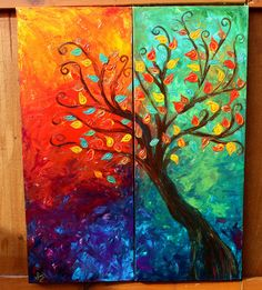 Colorful Fall Tree Abstract Acrylic Painting. 2 by shellyjames
