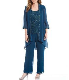 Mother Of The Bride Trouser Suits, Mother Of Bride Outfits, Dressy Pant Suits, Plus Size Cocktail Dresses, Plus Size Pants, Groom Dress, Jacket Dress, Street Style Women, Dillards