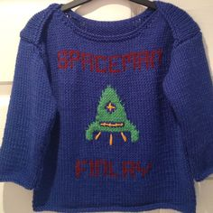 Knitted envelope jumper with personalised motif. Mabel & Monkey
