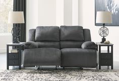Clonmel Charcoal Power Reclining Loveseat - ASL-3650574 Power Reclining Loveseat, Reclining Sectional, Loving Room Ideas, Pull Out Sofa, Power Recliners, Seat Cushions, Living Room Decor, Love Seat, Upholstery