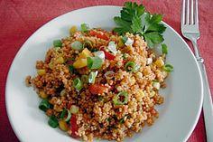Couscous – Salat lecker würzig (Rezept mi… – Top Of The World Coucous Salad, Bulgur Salad, Spicy Recipes, Salad Recipes, Healthy Recipes, Guacamole, Queso Feta, Healthy Salads, Tortellini