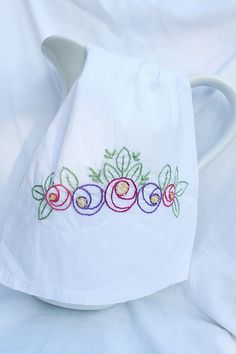 Hand Embroidered Floral Tea Towel