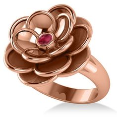 Allurez Ruby Flower Fashion Ring 14k Rose Gold (0.06ct) ($1,185) ❤ liked on Polyvore featuring jewelry, rings, rose gold jewelry, rose gold flower ring, ruby ring, pink gold rings and rose gold charms