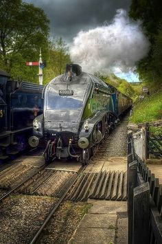 Steam train in UK by Neil Cherry. 60007 Sir Nigel Gresley is a preserved British steam locomotive. Train Car, Train Tracks, Diesel, Old Steam Train, Tramway, Steam Railway, Old Trains, Train Engines, Steam Engine