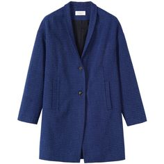 Toast Crinkle Cotton Coat (€335) ❤ liked on Polyvore featuring outerwear, coats, indigo, long sleeve coat and blue coat
