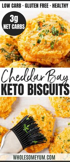 low carb recipes Keto Cheddar Bay Biscuits Recipe - See how to make keto cheddar bay biscuits (cheesy keto biscuits) in 30 minutes! These easy keto low carb cheddar biscuits taste just like Red Lobster ones, with only net carbs each. Biscuits Au Cheddar, Biscuits Keto, Ketogenic Recipes, Low Carb Recipes, Bread Recipes, Easy Keto Recipes, Coconut Recipes, Avocado Recipes, Low Carb Desserts