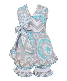 Blue & Gray Hayden Halter Top & Shorts - Infant, Toddler & Girls