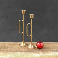 Brass Trumpet Taper Candle Holders - Bugle - Vintage by TheCherryAttic on Etsy