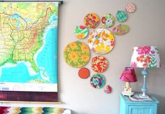 Great way to add a pop of color to walls #fabric #artwork