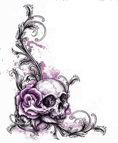 tattoo like this but  stretching from upper rib cage down to hip with more flowers and butterflys, love the way the rose comes out of the skull