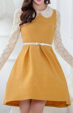 »Ladylike Lace Splicing Peter Pan Collar Long Sleeve Wide Hem #Dress« #fashion #fashionandaccessories