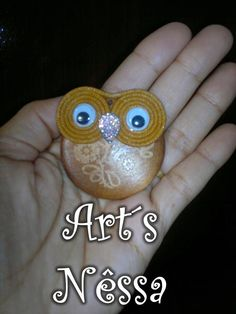 Art's Nêssa - Artesanato: Coruja base de madeira ímã