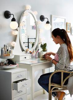 hemnes bedroom vanity ideas - lighting and side filing cabinet