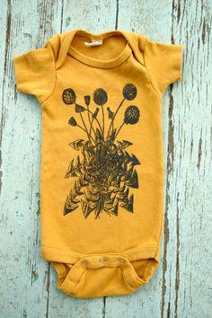 Dandelion Baby Onesie, Organic Cotton, Infant Bodysuit, Yellow One piece, Hand screen printed Dandelion Onesie