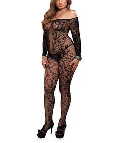 Black Sheer Spiral Lace Off-Shoulder Body Stocking - Plus