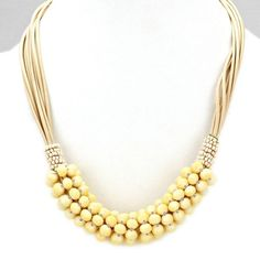 "Briolette Beads CLuster Multi Cords Necklace $14 Necklace measures 18"" + 3"" www.jonesburch.com"