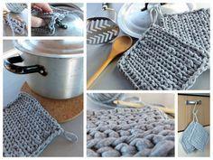 crocheted potholder from T-shirt yarn gehäkelte Topflappen aus T-Shirt Garn