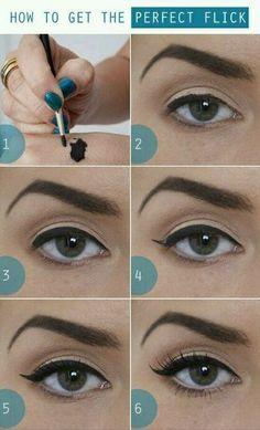 Perfect cat-eye (pin-up) make-up.