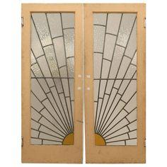 French Art Deco doors with sunburst leaded glass design. (did I mention that I love Art Deco? Stained Glass Door, Leaded Glass, Glass Doors, Window Glass, Broken Glass Art, Sea Glass Art, Glass Beach, Art Nouveau, Art Vintage