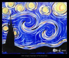 Image result for how to paint a funky Starry Night