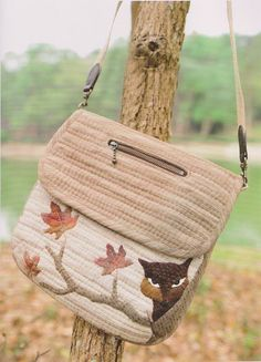 How to make tutorial fox woodland shoulder tote Bag Handbag purse women sewing quliting quilt patchwork applique pdf pattern e patterns