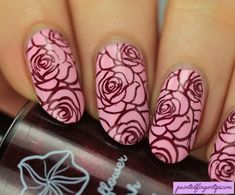 Painted Fingertips | Moonflower Polish Vampy Cremes stamping - Wine